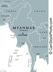 burma, mapa, político, myanmar