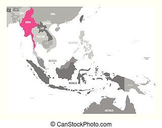 burma, mapa, vetorial, myanmar., região, ásia, destacado, sudeste, cor-de-rosa, ou
