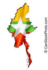 Burma Myanmar flag map, three dimensional render, isolated...