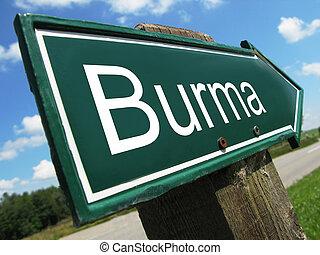 Burma road sign
