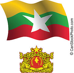 burma wavy flag and coat of arms against white background,...