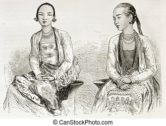 Burmese girls old engraved portrait. Created by Morin and...
