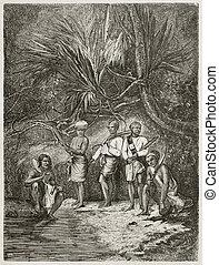 Burmese people - Burmese men in the forest old illustration....