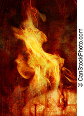 A portrait of a woman with flames