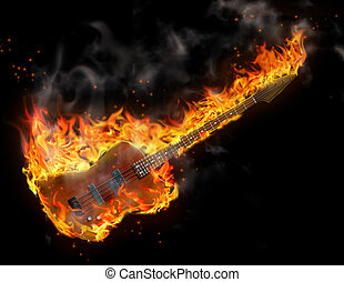 Black background and guitar is in flames
