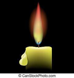 Burn Candle - Burning Single Candle on a Black Background....