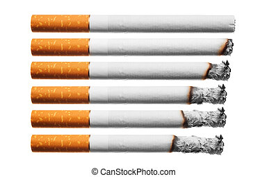 burn cigarettes set, on white background