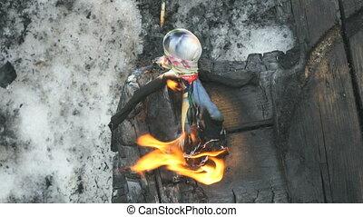 Burn doll on Shrovetide. Russian holiday