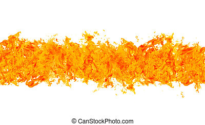 Burn line - Rendered flames in a fiery line on a white...
