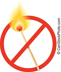 Vector stop sign with burn match
