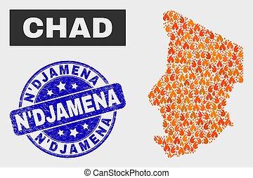 Burn Mosaic Chad Map and Grunge N'Djamena Watermark