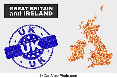 Burn Mosaic Great Britain and Ireland Map and Grunge Uk Stamp Seal