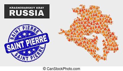 Burn Mosaic Krasnodarskiy Kray Map and Grunge Saint Pierre ...