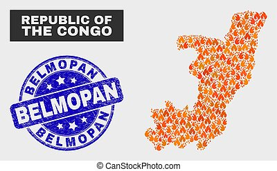 Burn Mosaic Republic of the Congo Map and Scratched Belmopan Seal