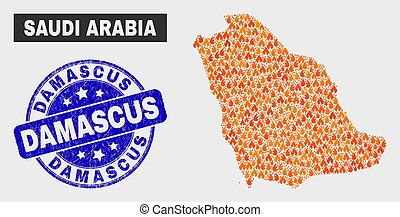 Burn Mosaic Saudi Arabia Map and Grunge Damascus Watermark