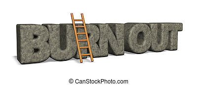 burn out rock and ladder - 3d illustration