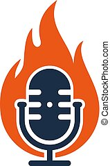Burn Podcast Logo Icon Design