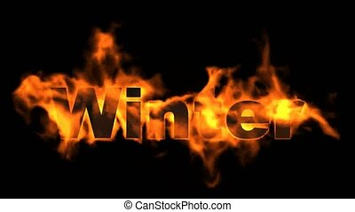 burn winter word, fire text.