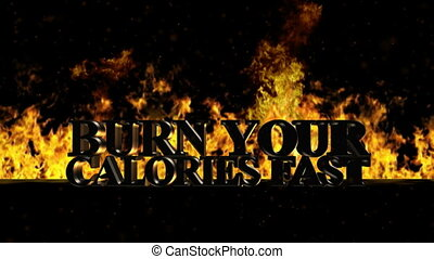 Burn Your Calories Burning Hot Word in Fire