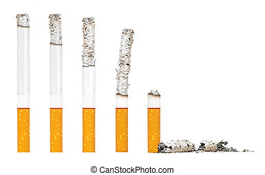 Burned Almost Cigarettes Step on iSolated White Background