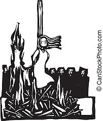 Burned at the Stake - Expressionist woodcut style Woman, ...