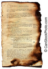 Close up of burned book for background
