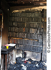 Burned books after a house fire