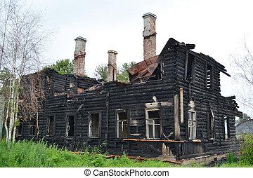 Burned building.