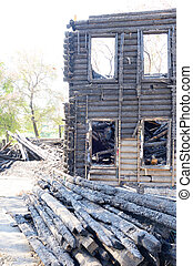 Burned building in Vologda.