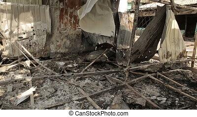 Burned Building in War