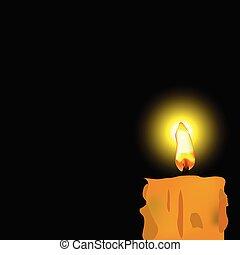 burned candle vector illustration on black background