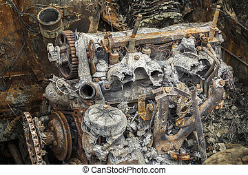 Burned down rusty engine