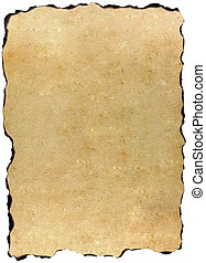 Burned edges old parchment