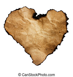 Burned heart-shaped paper isolated on white.