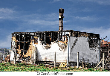 burned house after fire