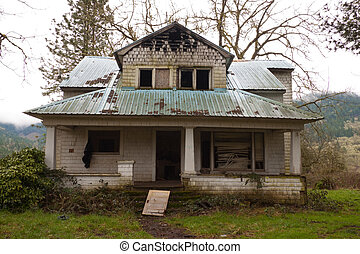Burned House - An old ranch home has been burned and...