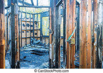Burned house interior residence after a house fire