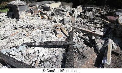 Burned House Remains - Ruins of a house fire, Washington,...