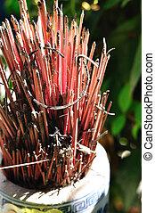 Burned incense sticks in the Incense holder