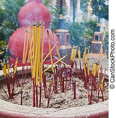 Burned incense sticks in the Incense holder.