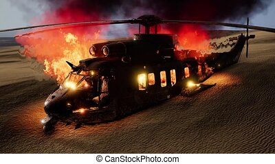 burned military helicopter in the desert at sunset