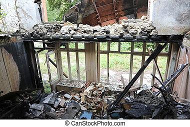 burned old house