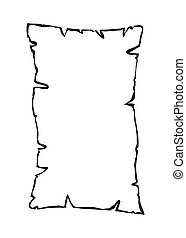 Burned old paper, parchment outline silhouette vector symbol icon design.