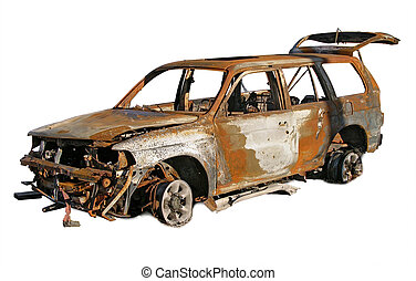 Photo illustration of a burned and rusted out car.