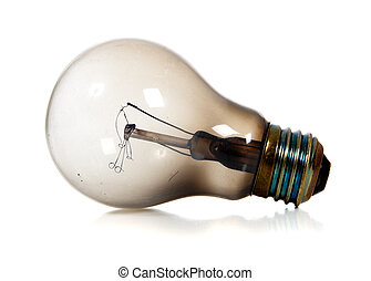 Burned Out Light Bulb - Burned out light bulb on a white...