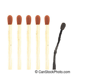 burnout visualisation thru matches isolated on a white background