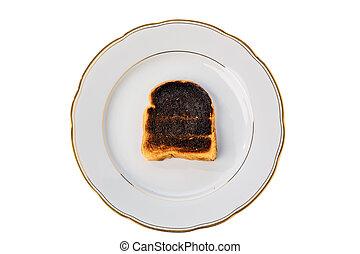 burned toast bread slices - toast the toast was burnt. burnt...