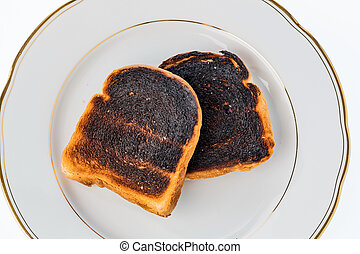 burned toast bread slices