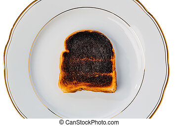 burned toast bread slices - toast was burnt during toasting....