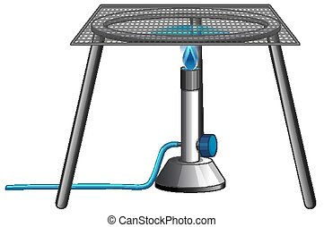 Burner with stand and metal bars on white background